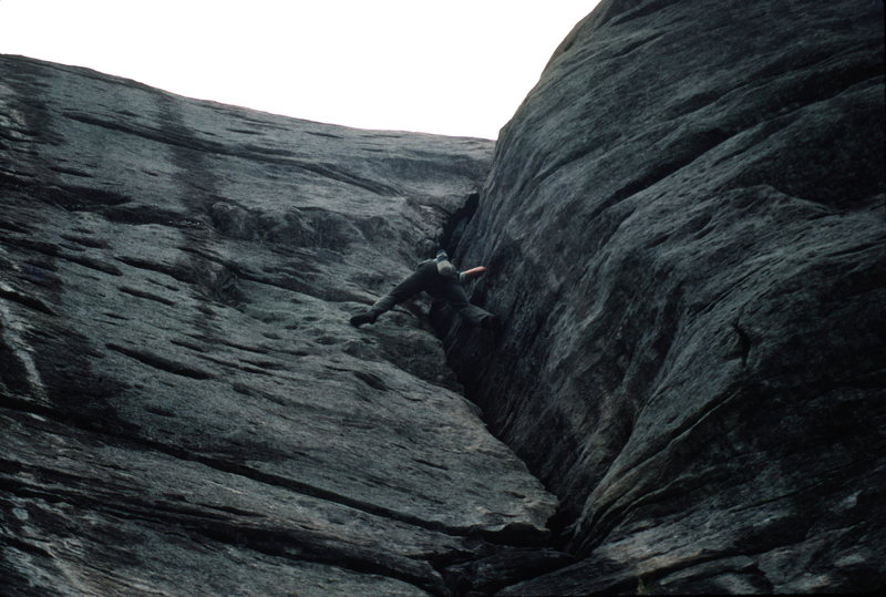 Rock Climbing Photo: Scott McCook soloing Fat Dog 5.7 in the early 80s.