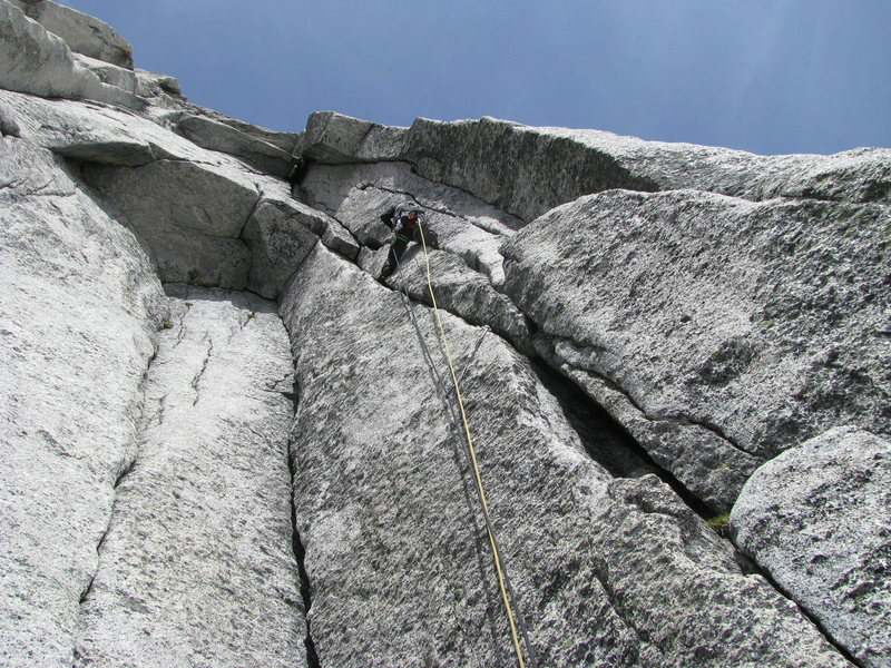 Pitch 5 has splitter cracks to a wild roof.<br> Photo By: Dave Sorric