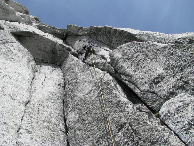 Rock Climbing Photo: Pitch 5 has splitter cracks to a wild roof. Photo ...
