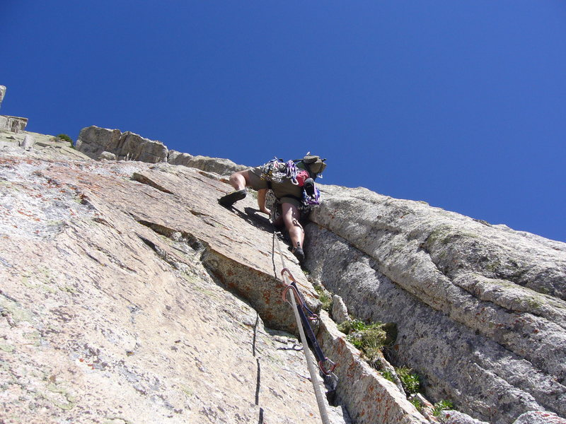 Rock Climbing Photo: Giggles' handcrack crux on pitch 4.  Sweet... ...S...