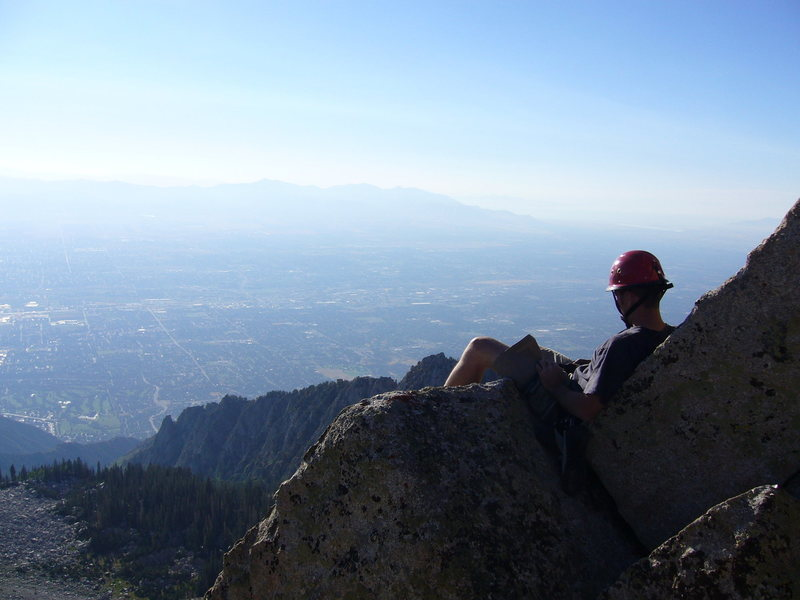 Rock Climbing Photo: Hoskins looking at the valley from the top of the ...