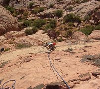 Rock Climbing Photo: Dan climbs the first pitch of Physical Graffiti.