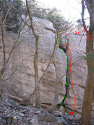 Rock Climbing Photo: Squirrel Highway in green.  Swillin' in Red  Fools...