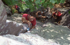 Rock Climbing Photo: Henning placing pro on Via Apia. Devils Lake, Sept...