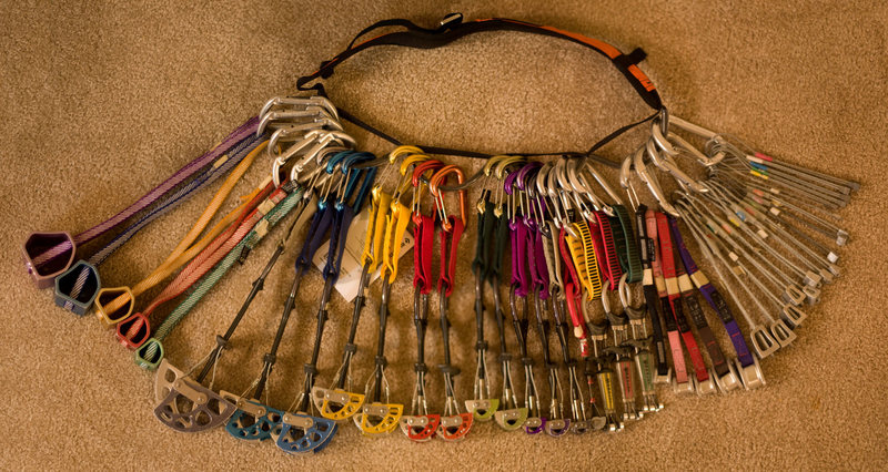 My rack in early September 2008 after buying 9 more cams.  Now what do I need?