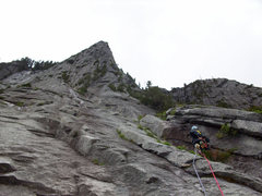Rock Climbing Photo: Lower Apron- Somewhere around pitch 1.
