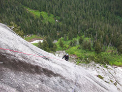 Rock Climbing Photo: More knob climbing on pitch 4.