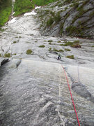 Rock Climbing Photo: Looking down the awesome blue crack on pitch 6.