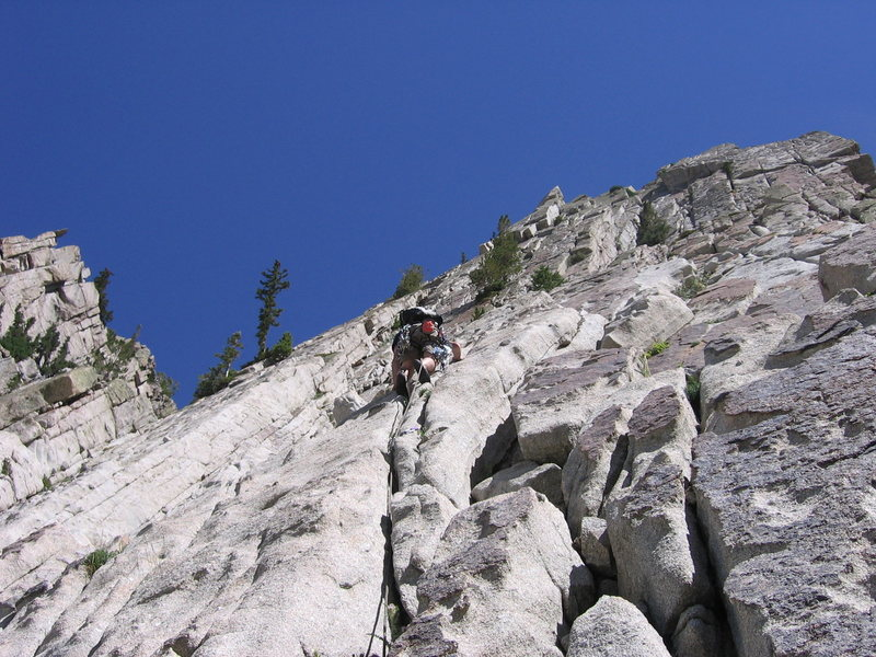 Rock Climbing Photo: Hoskins on Pitch 1