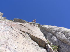 Rock Climbing Photo: Moving up Pitch 4.  Look at that nice hand crack a...