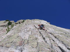 Rock Climbing Photo: Hoskins placing pro on pitch 5