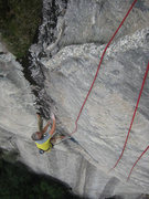 Rock Climbing Photo: Ralph Fickel following the headwall.  Who says NC ...