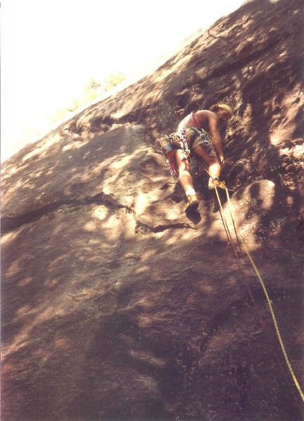 Dean Gansline on an early ascent.