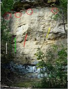 Rock Climbing Photo: Sorry for the poor quality.  Red circles are the a...
