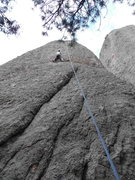 Rock Climbing Photo: Lora Woods at the bulge on Pandora's....