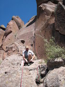 Rock Climbing Photo: Brian Q. shoeing up for some fun on Crackerjack. S...