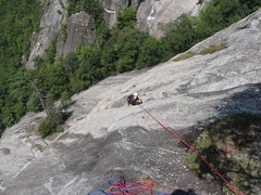 Rock Climbing Photo: Stinson following the P3 water groove...crux pitch...