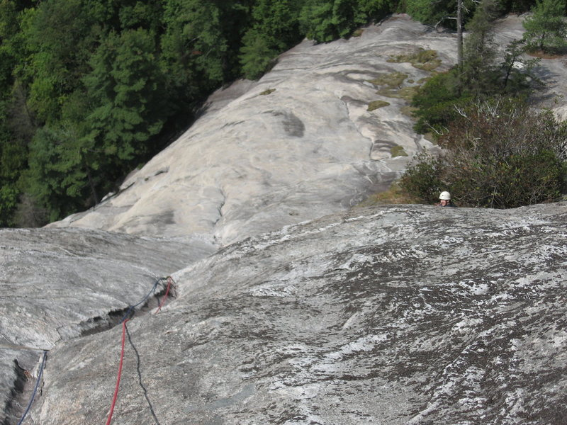 Rock Climbing Photo: The look down half way up P4 to the belay at the t...