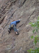 Rock Climbing Photo: Adam Schrader cruising to the last protection bolt...