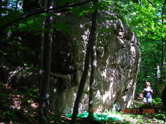 Rock Climbing Photo: Found a boulder in the woods?  There were a few sl...