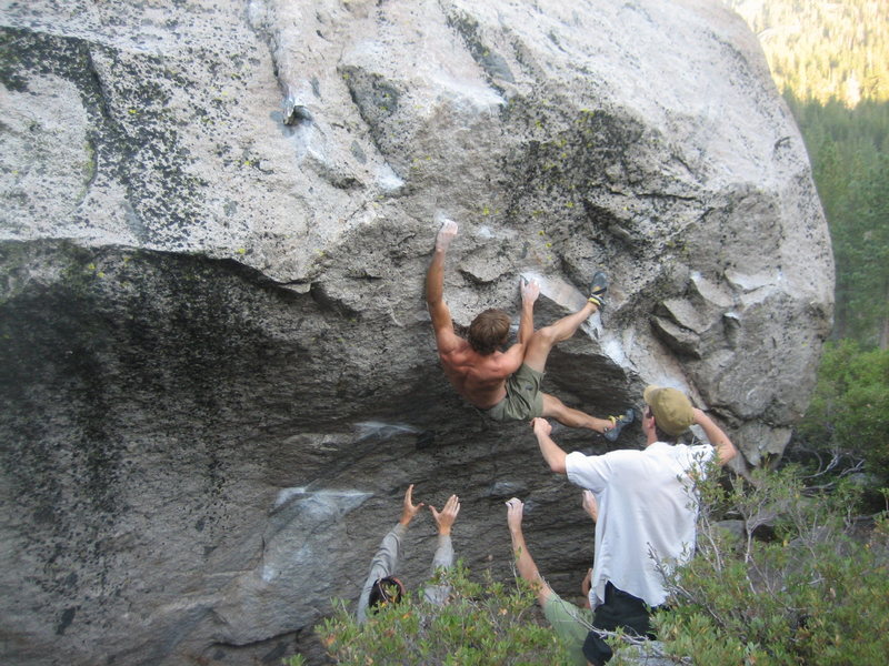 Rock Climbing Photo: Ken with the heel hook on White Lines