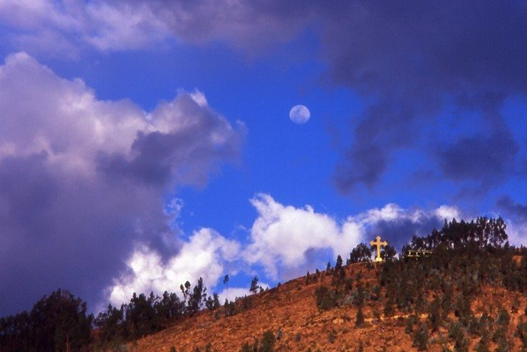 moon and hill