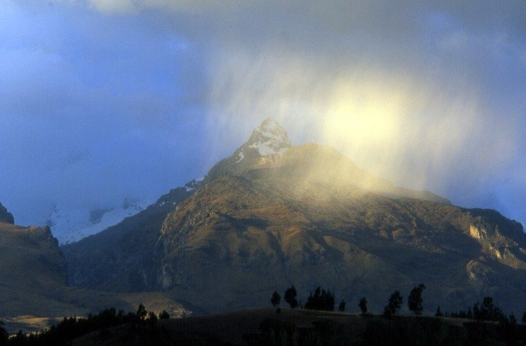 Rain showers over Huaraz.