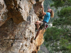 "Rock Climbing Photo: Dylan on ""Dr. Sky"", a combination of Dr...."