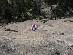 Rock Climbing Photo: P3: Kody pulling up on the knob above the optional...
