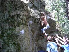 Rock Climbing Photo: Stew sticking the lip.