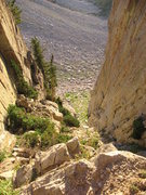 Rock Climbing Photo: Looking down the notch.  It is pretty steep and lo...