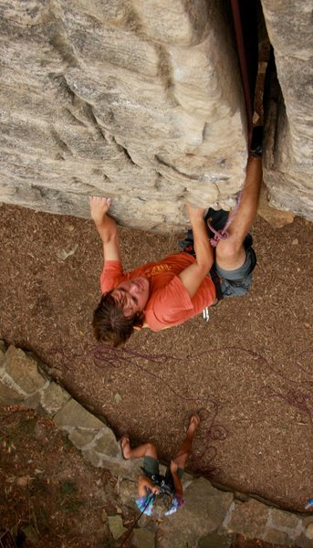 Pulling the crux on Rusty's Crack<br> photo by Doug Liedle