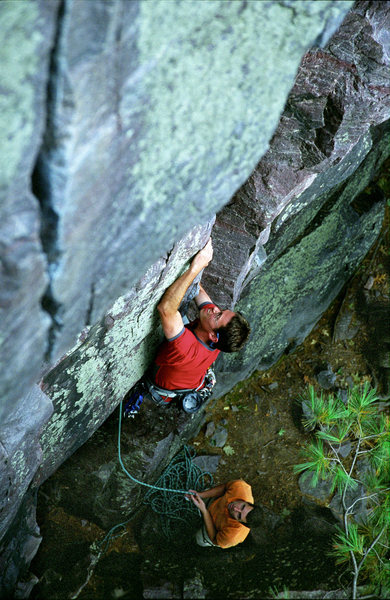 Rock Climbing Photo: Devils Lake. Lower moves on Wooger's Woof. Henning...