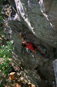 Rock Climbing Photo: Devils Lake. Henning Boldt leading Debauchery (the...