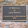 The plaque I placed at the base of L'homme de la Renaissance (The Renaissance Man). Bolted and sent in honor of Jack.