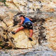 Rock Climbing Photo: Laura Dewey in the crux