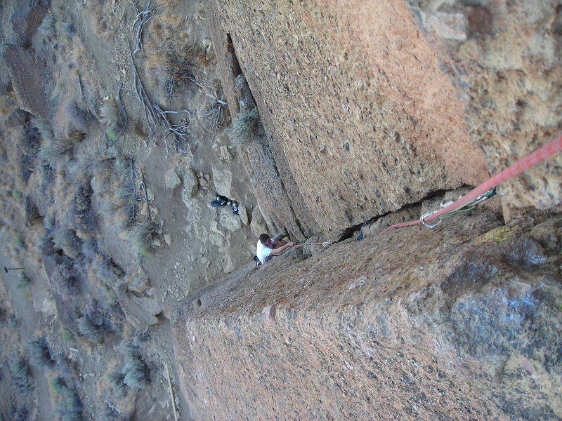 Rock Climbing Photo: Looking down Spiderman Variation, from the belay s...