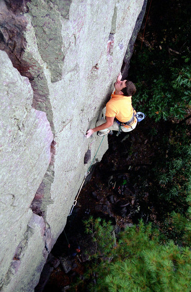 Devils Lake. Wooger's Woof. Isaac Therneau about to make the second crux. September, 2008.