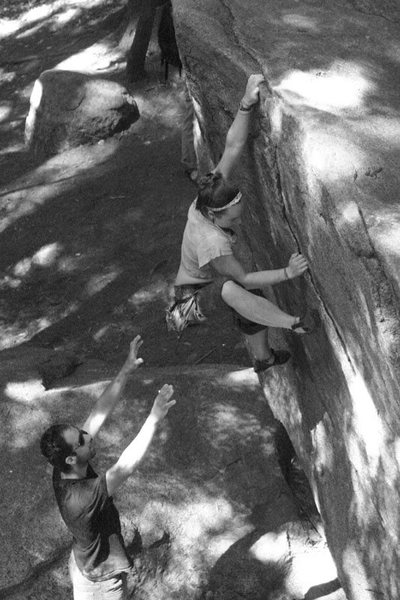 Rock Climbing Photo: Nicole going for the static approach...