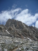 Rock Climbing Photo: View of the entire Exum Ridge from the lower saddl...