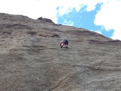 Rock Climbing Photo: Look up and see the flake. This is CP, long run ou...