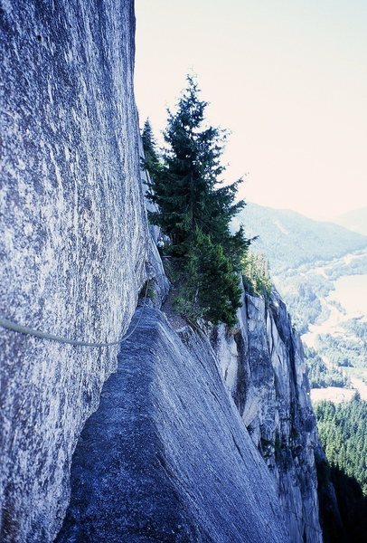 Not a great shot, but you can see what the traverse is like in this shot, taken at perhaps 11am, befor the sun hit.  Peter Spindloe is at the end of this traverse. Photo by Tony Bubb 7/08.
