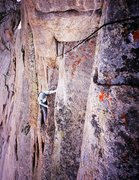 "Rock Climbing Photo: Kat A. approaches the sandbagged ""10a"" c..."