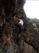 Rock Climbing Photo: Rob starting up Interpretation of Creation.