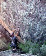 Rock Climbing Photo: Rob about to start top roping the juggy bottom sec...