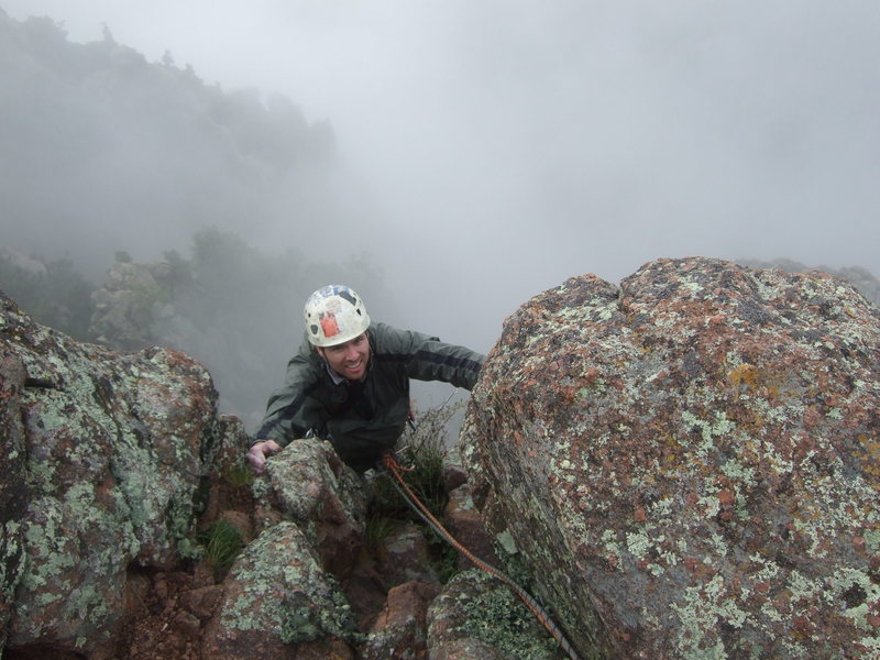 Rock Climbing Photo: Dr. Dave tops out The Great Escape on a sketchy we...
