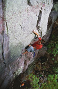 Rock Climbing Photo: Devils Lake. Henning Boldt pulling the roof on Woo...