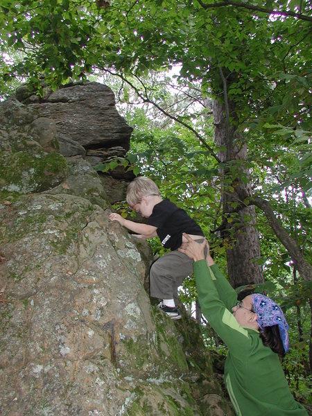 My Son bouldering at Gov. Dodge