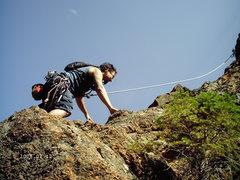 """Rock Climbing Photo: John starting out on """"Hanging Gardens""""."""