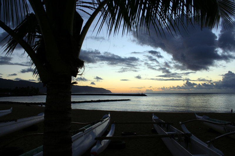 Sunset on North Shore in Hale'iwa, Hawaii.